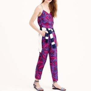 J CREW midnight floral silk jumpsuit pants 4